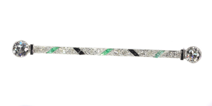 Vintage Art Deco platinum diamond bar brooch also set with onyx and emeralds by Unknown Artist