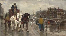 Horse and carriage at the Amsterdam canals by Frans Langeveld