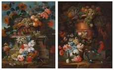 Pair of Flower Still lifes by Unknown Artist