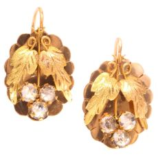Charming Antique Victorian Gold Earrings Set With Strass by Unknown Artist