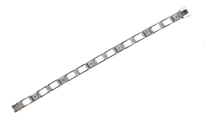 Vintage Art Deco diamond platinum bracelet by Unknown Artist