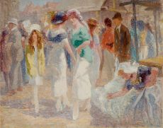 Elegant ladies at the market, Middelburg by Willem Vaarzon Morel