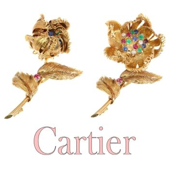 Cartier Vintage Fifties trembleuse brooch moveable flower that opens/closes by Cartier .