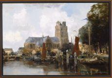 The Harbour of Dordrecht by Willem George Frederik Jansen