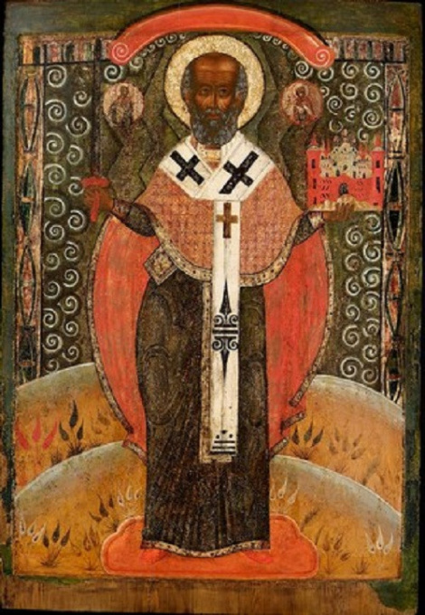 Monumental wooden icon: Saint Nicolas of Mozaisk by Unknown Artist