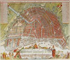 Plattegrond van amsterdam met uitgebreide legenda en gezicht vanaf het IJ by Covens & Mortier