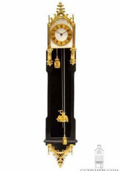 A miniature Austrian Neo Gothic gilt brass mounted ebony 'brettl' wall timepiece, circa 1840 by Unknown Artist