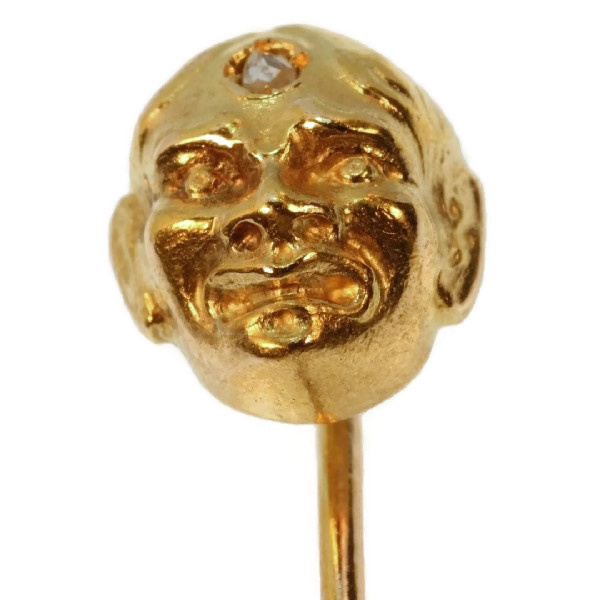 Art Nouveau gold tiepin mask with diamond as third eye by Unknown Artist