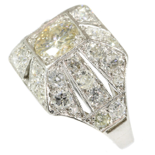 Sparkling Art Deco 3.78 crt diamond cocktail engagement ring by Unknown Artist