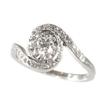 Estate platinum diamond engagement ring a so called tourbillion or twister by Unknown Artist