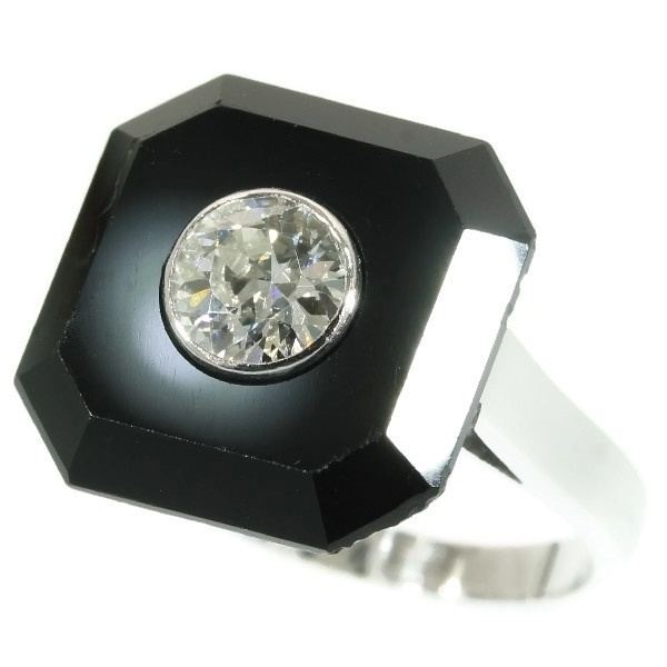 Art Deco onyx and diamond engagement ring by Unknown