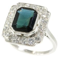 Platinum diamond and sapphire Art Deco style ring made in the Fifties by Unknown