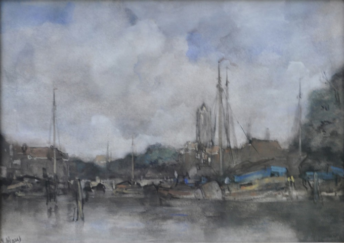 A view of the harbour of  Utrecht by Jacob Maris