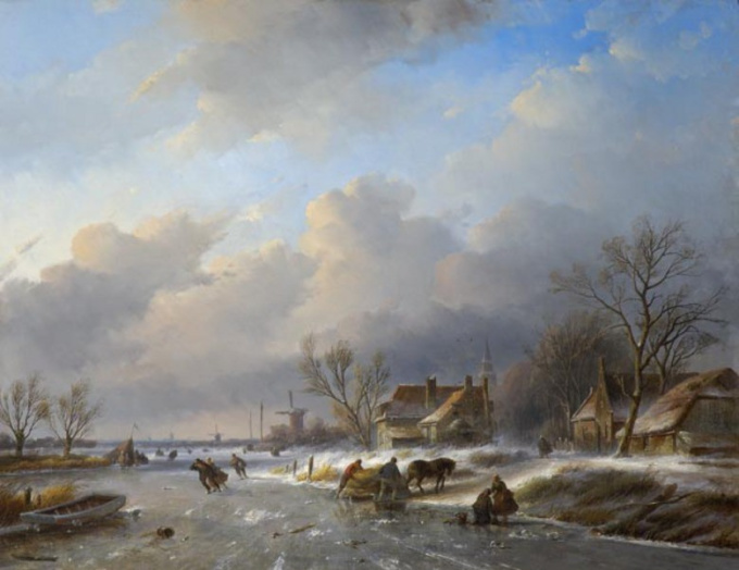 Landscape in winter-time with a working horse by Jan Jacob Spohler