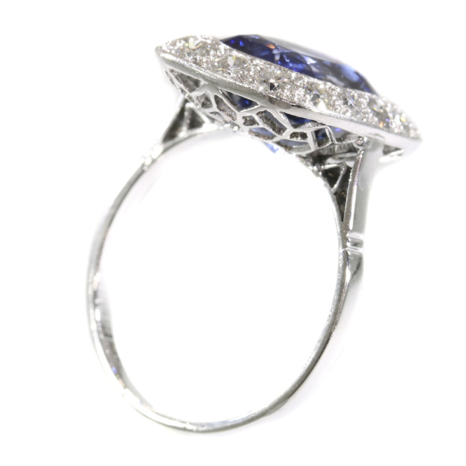 Original vintage Art Deco sapphire and diamond engagement ring by Unknown