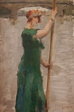 Woman Dressed in Long Green Dress Boat Punting by Isaac Israels