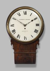A good early 19th century mahogany drop dial wall timepiece, Handley & Moore, London, c. 1810.