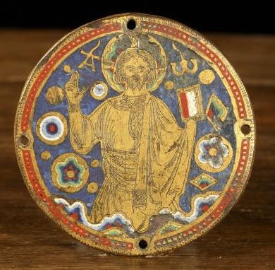 A parcel-gilt enamelled roundel of Christ the Redeemer by Unknown Artist
