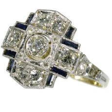 Art Deco engagement ring with diamonds and sapphires by Unknown