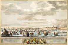 Winter amusements on the Maas river in front of the city Rotterdam as it happened in 1776, by Robert Muys