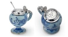 Earthenware mustard pot with Dutch silver mounts, Possibly Delft, ca.1660-1680