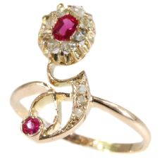 Typical strong design Art Nouveau ruby and diamond ring by Unknown