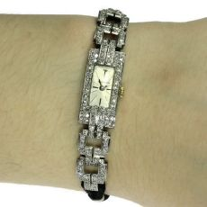 Platinum Art Deco ladies wrist watch set with diamonds by Unknown Artist