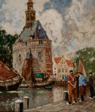Fishermen in the harbour of Hoorn by Henri Cassiers