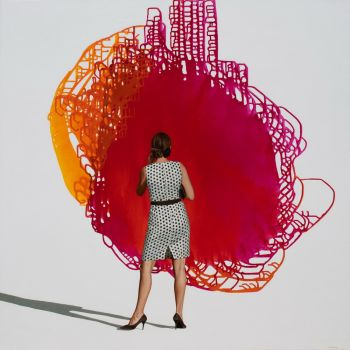 Polka Dots  Original mixed media incl oil on canvas 120 x 120 cm y 2021  by Eva Navarro