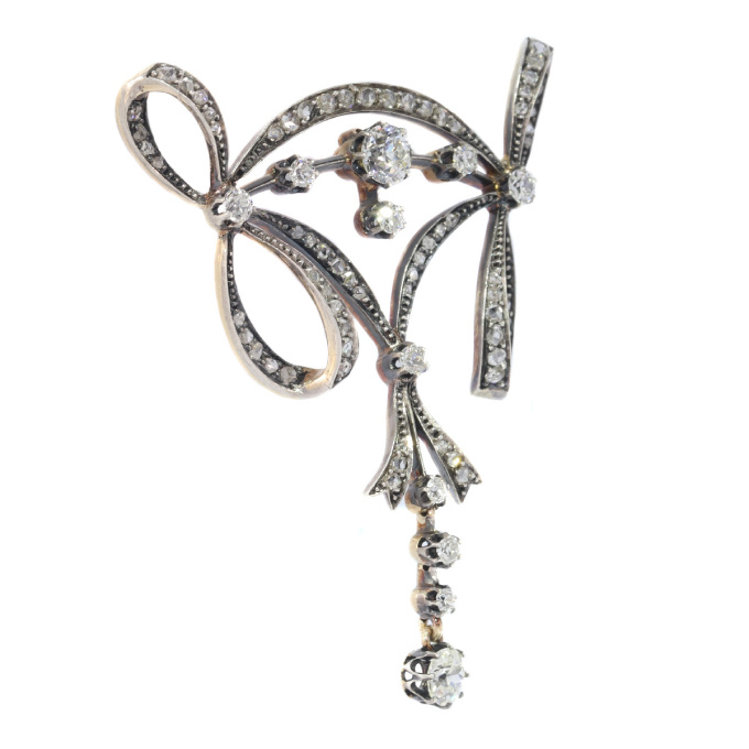 Most elegant Belle Epoque diamond pendant brooch by Unknown Artist