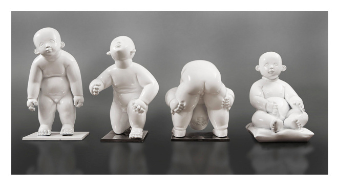 Birthmark series, bronze white lacquered by Gong Dong