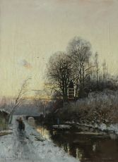 A snow covered landscape at sunset with Huis te Hoorn near Rijswijk, Holland by Fredericus Jacobus van Rossum du Chattel