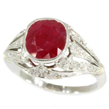 French Art Deco diamond engagement ring with big Burmese ruby by Unknown Artist