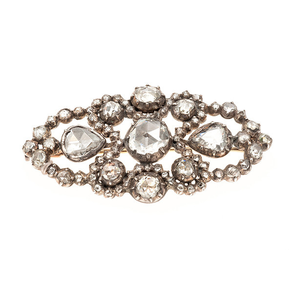 Dutch antique brooch with rosecut diamonds by Unknown Artist