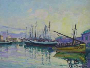 Harbour on Mallorca by Lucien Seevagen