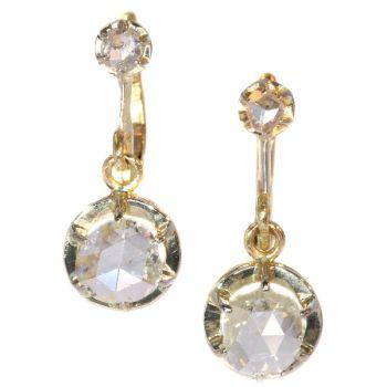 Large rose cut diamond Art Deco earrings by Unknown Artist
