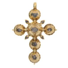 Pre Victorian antique gold cross with foil set rose cut diamonds by Unknown