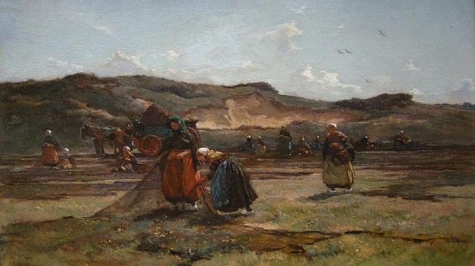 Women with nets in the dunes by Johannes Evert Akkeringa