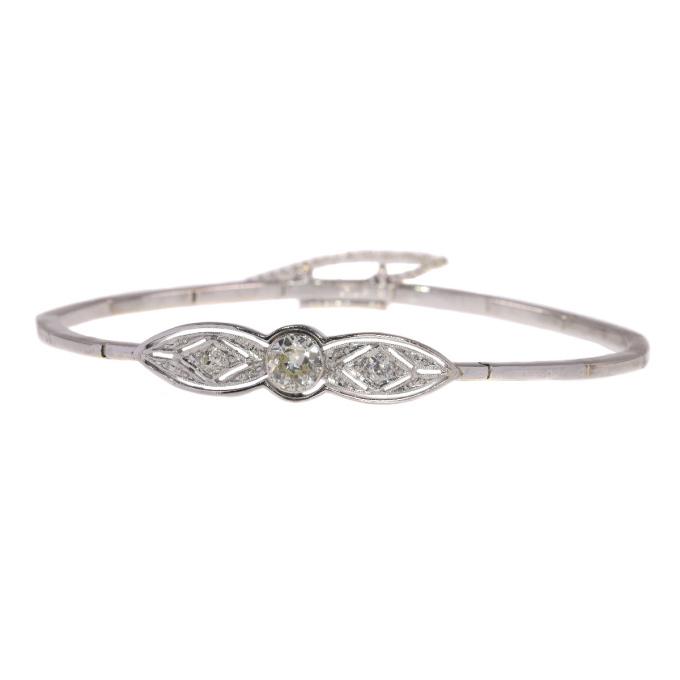 Vintage Art Deco bracelet with large old european cut brilliant by Unknown Artist