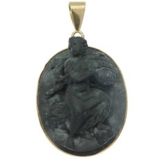 Typical lavastone high relief cameo gold pendant with mythological motif by Unknown Artist