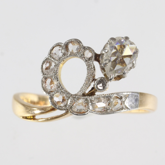 Antique diamond engagement asymmetric with pear shaped rose cut diamond by Unknown Artist