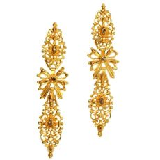 Antique Portuguese long pendent earrings with rose cut diamonds high carat gold by Unknown
