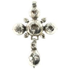 Victorian antique silver cross set with rose cut diamonds by Unknown Artist