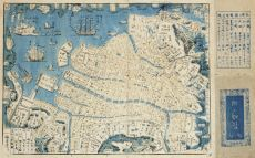 A JAPANESE WOODBLOCK PRINT MAP OF NAGASAKI HARBOUR, SHINKAN NAGASAKI NO DZU by Unknown Artist
