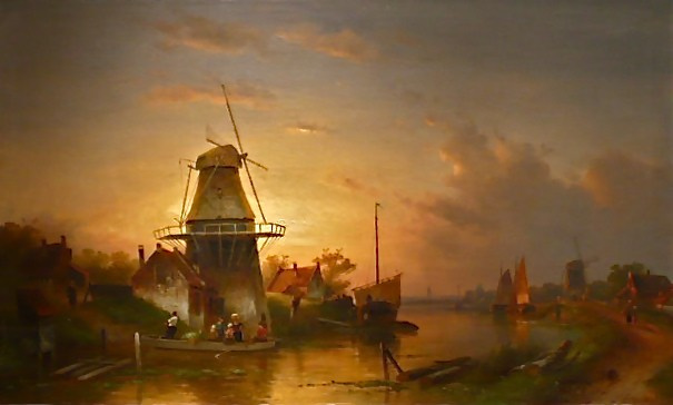 Riverlandscape in summertime with a ferry by Charles Leickert