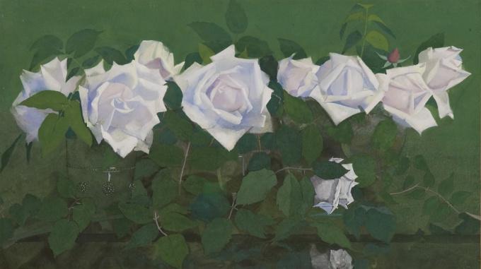 La France'-roses in glass vases by Jan Voerman sr