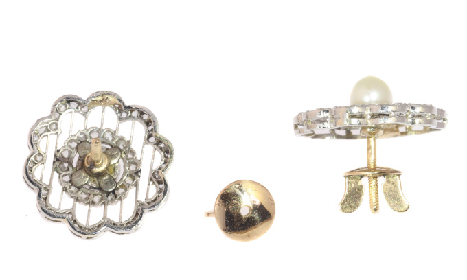 Vintage earrings Dutch Edwardian platinum set with 112 rose cuts and a pearl by Unknown