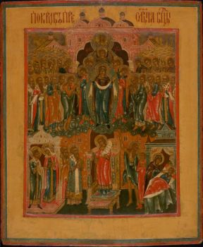 Central Russian Icon: Pokrov of the Mother of God by Unknown Artist