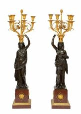 An imposing pair of French Louis XVI ormolu and bronze candelabra, François Remond, circa 1800 by François Remond
