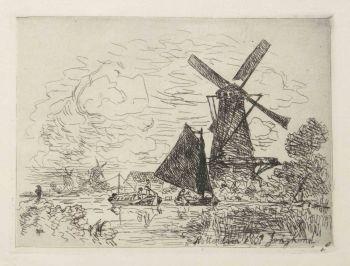 Moulins en Hollande by Johan Barthold Jongkind